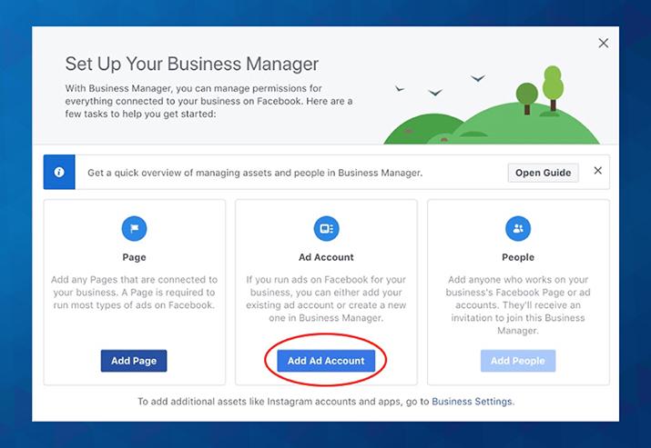 Oglaševalski račun v Business Managerju