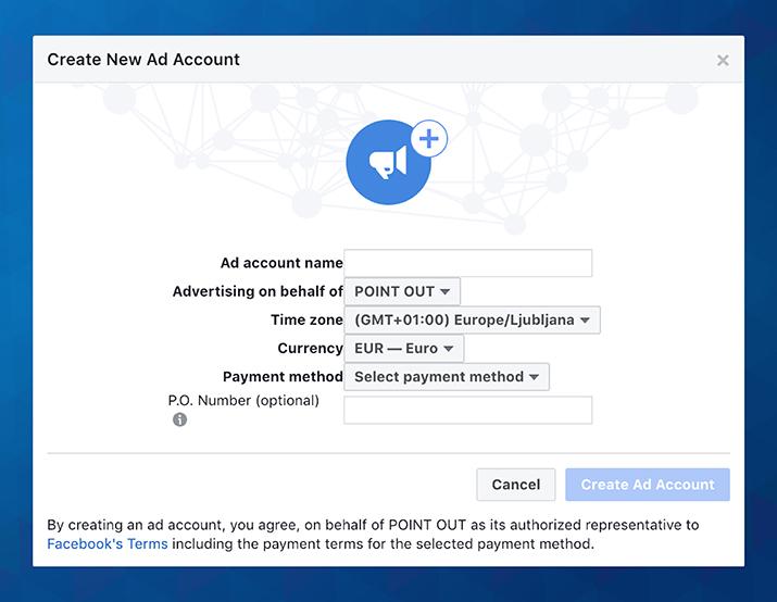 Ustvari novi oglaševalski račun
