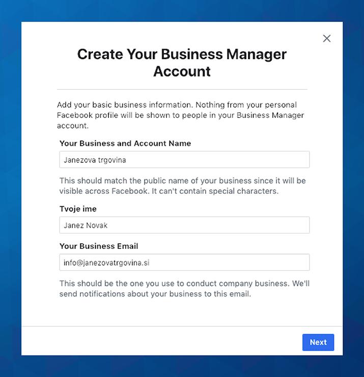 Ustvari račun v Business Managerju