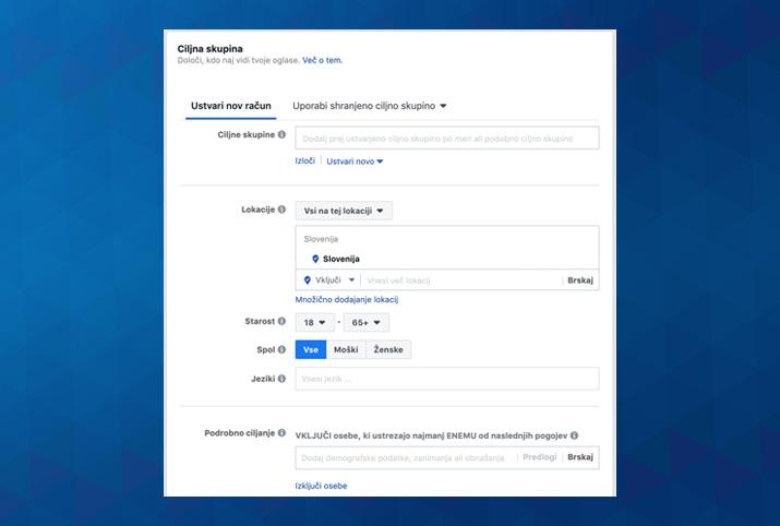 targetiranje s facebook kampanjo