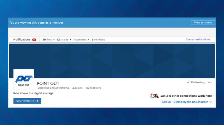 Pogled na LinkedIn stran, kot jo vidijo administratorji tvoje strani.