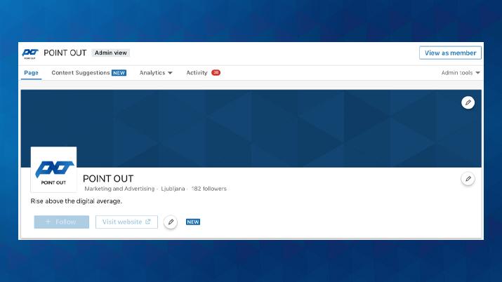 Pogled na LinkedIn stran, kot jo vidijo uporabniki družbenega omrežja LinkedIn.