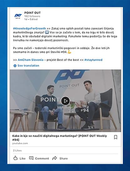 Primer objave, ki združuje video vsebino, označitev drugega poslovnega LinkedIn profila ter uporabo ključnikov.