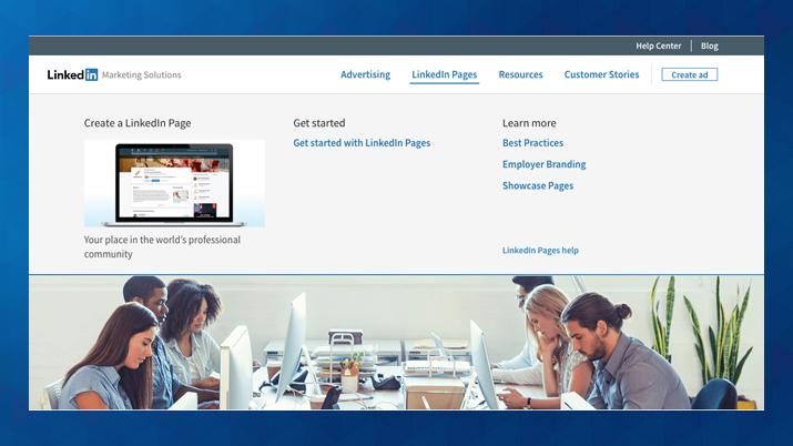 Vstopno okno v LinkedIn za podjetja