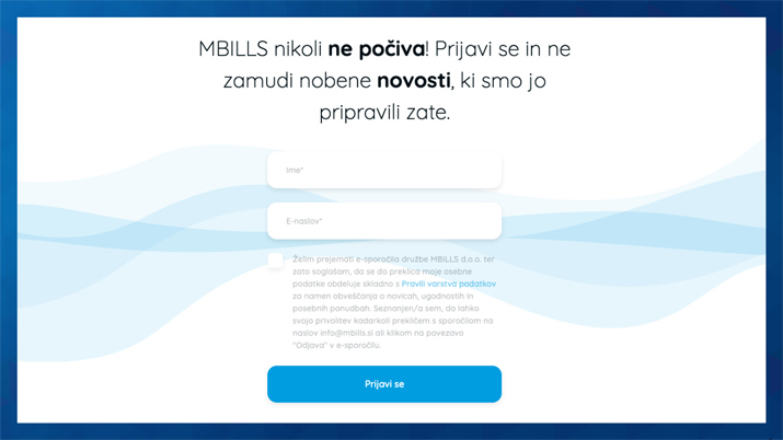 prijavni obrazec za e-mail marketing