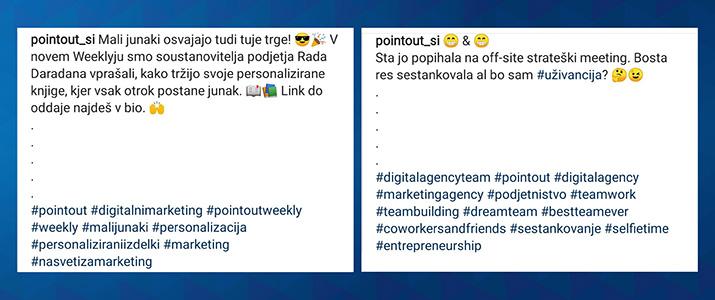 uporaba hashtagov na instagramu