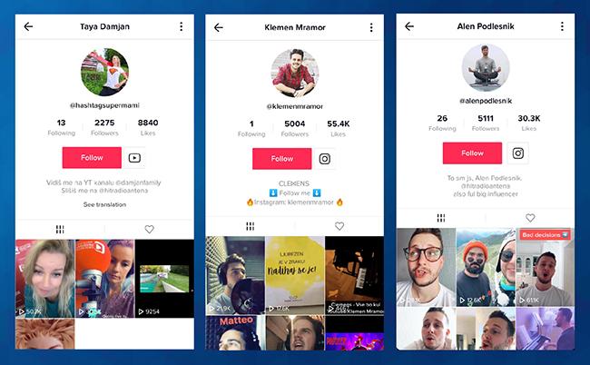 Znani Slovenci na družbenem omrežju TikTok