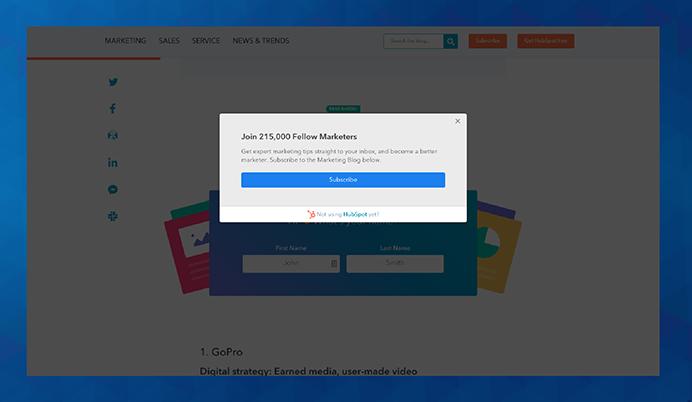 pop-up prijavni obrazec za bazo e-mail kontaktov