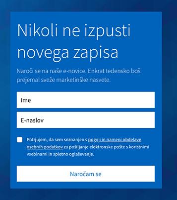 prijavni obrazec za bazo e-mail kontaktov
