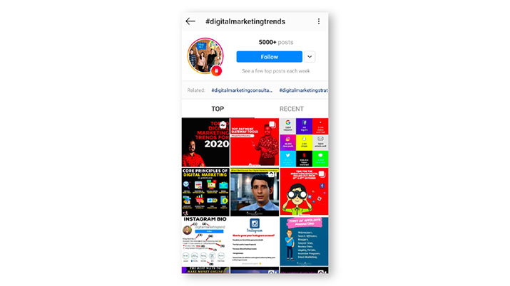 instagram hashtagi za spremljanje novosti o digitalnem marketingu