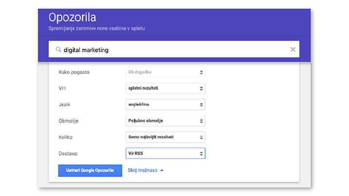 spremljanje novosti o digitalnem marketingu google alerts