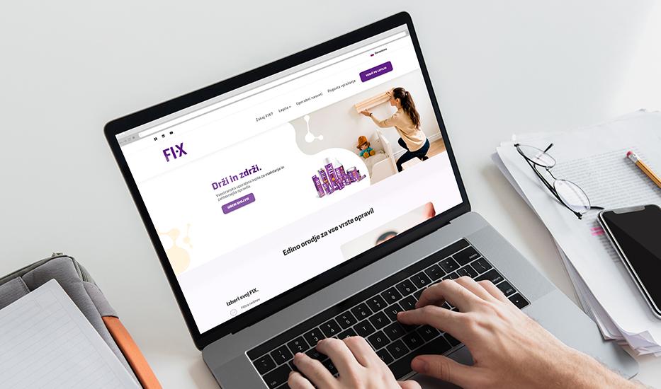 Spletna stran ob lansiranju blagovne znamke FIX